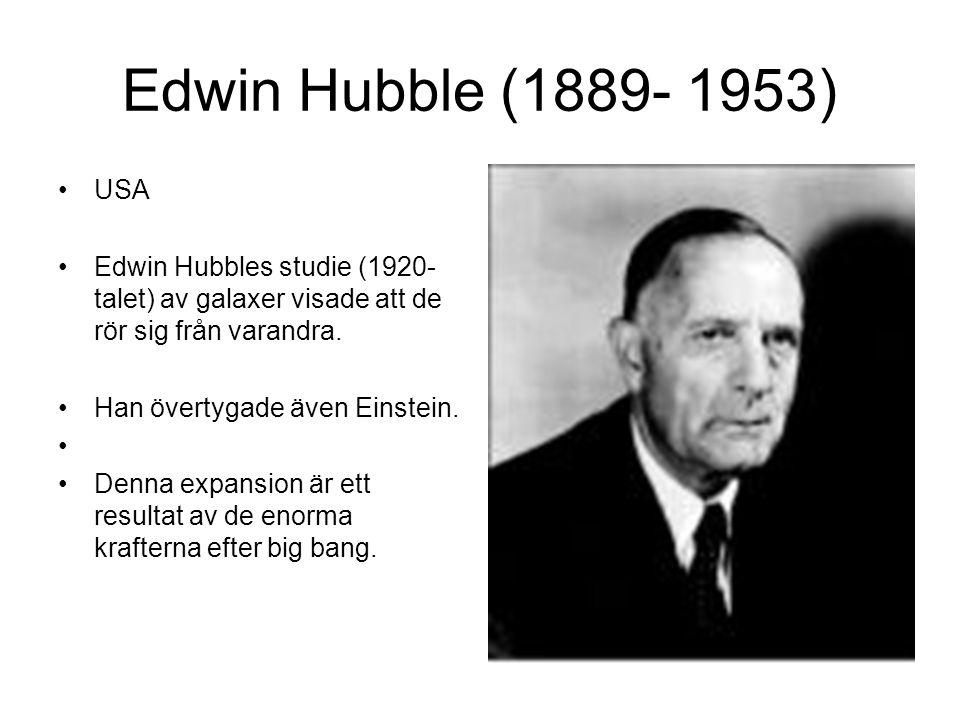 Edwin Hubble (1889- 1953) USA. Edwin Hubbles studie (1920-talet) av galaxer visade att de rör sig från varandra.