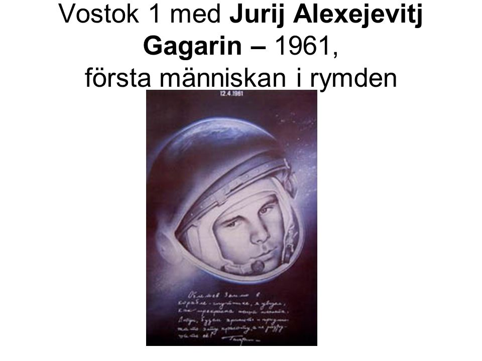 Vostok 1 med Jurij Alexejevitj Gagarin – 1961, första människan i rymden