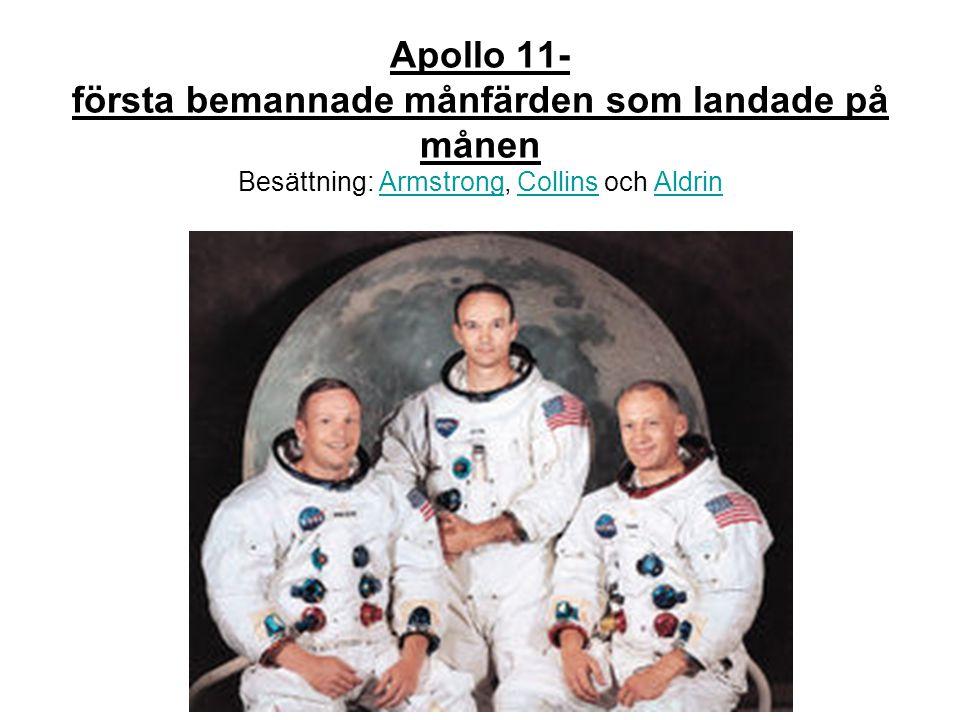 Apollo 11- första bemannade månfärden som landade på månen Besättning: Armstrong, Collins och Aldrin