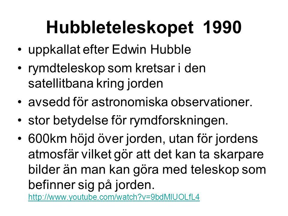Hubbleteleskopet 1990 uppkallat efter Edwin Hubble