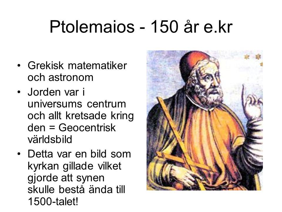 Ptolemaios - 150 år e.kr Grekisk matematiker och astronom