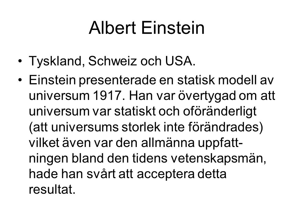 Albert Einstein Tyskland, Schweiz och USA.