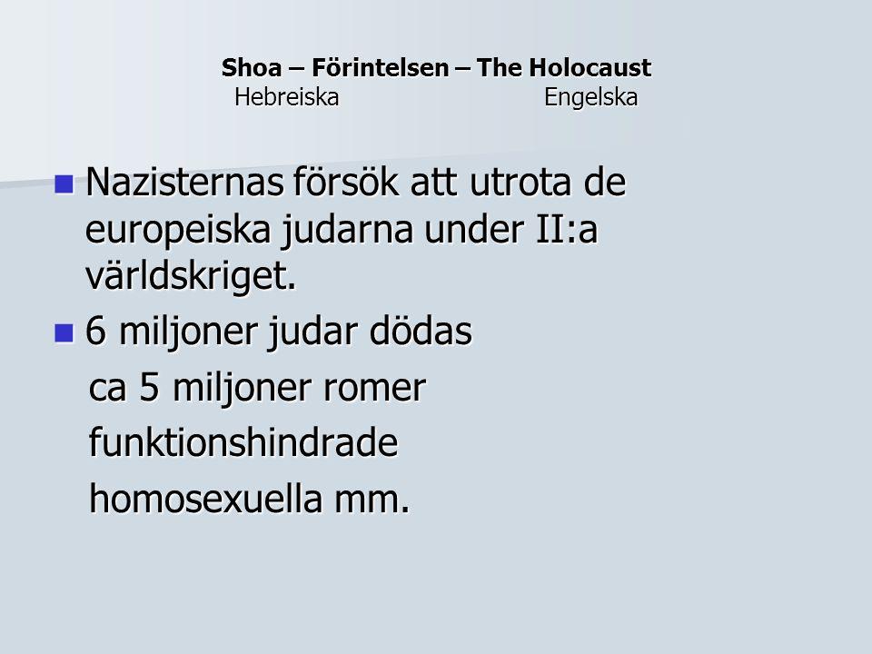Shoa – Förintelsen – The Holocaust Hebreiska Engelska