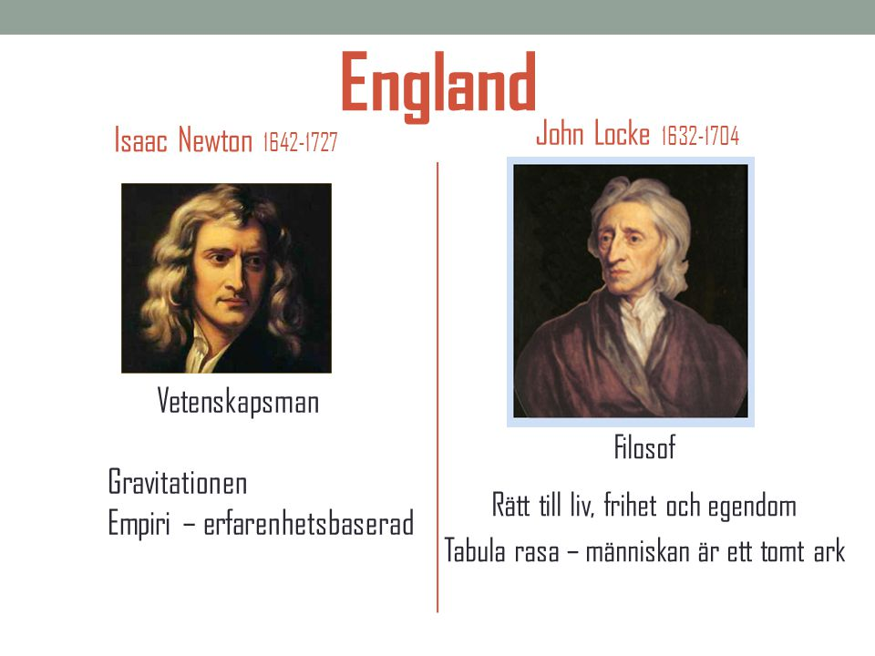 England John Locke 1632-1704 Isaac Newton 1642-1727 Vetenskapsman