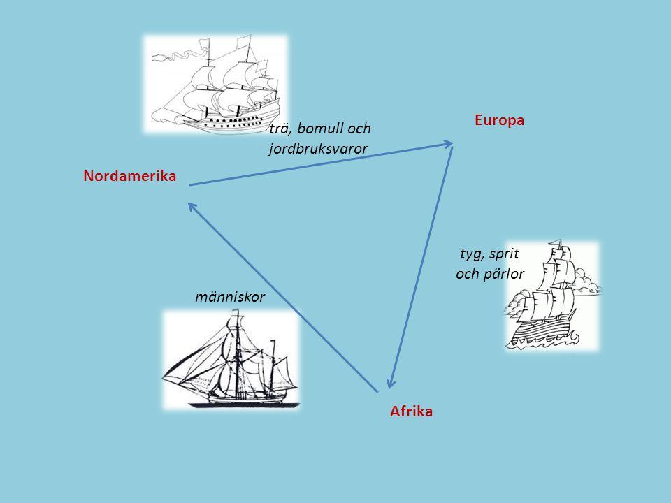 Europa trä, bomull och jordbruksvaror Nordamerika tyg, sprit och pärlor människor Afrika