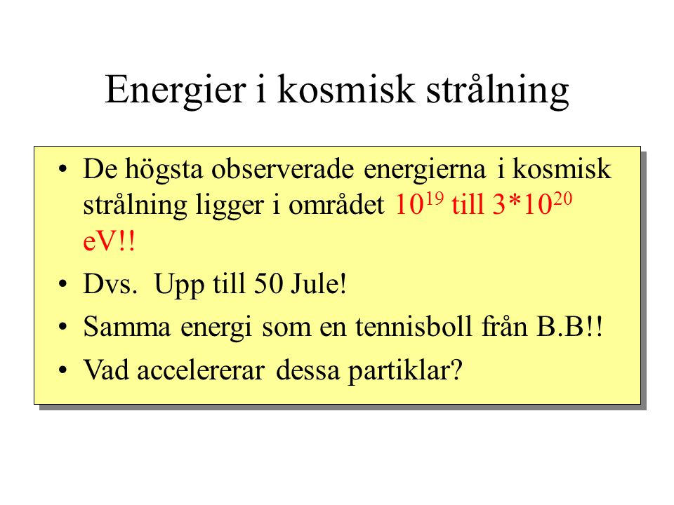 Energier i kosmisk strålning