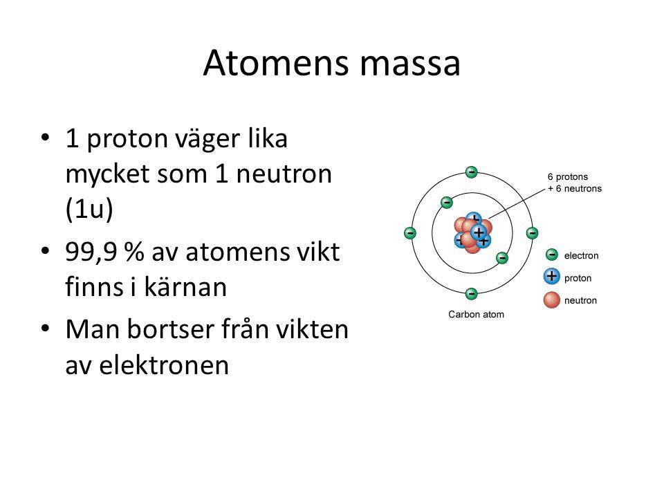 Atomens massa 1 proton väger lika mycket som 1 neutron (1u)