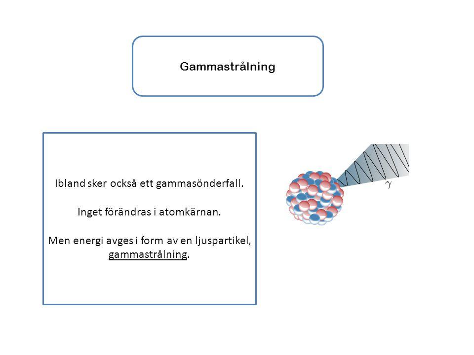 Ibland sker också ett gammasönderfall. Inget förändras i atomkärnan.