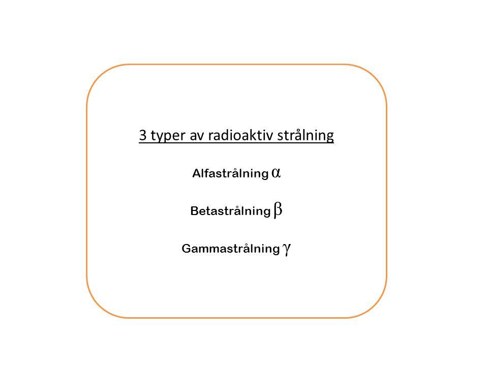 3 typer av radioaktiv strålning