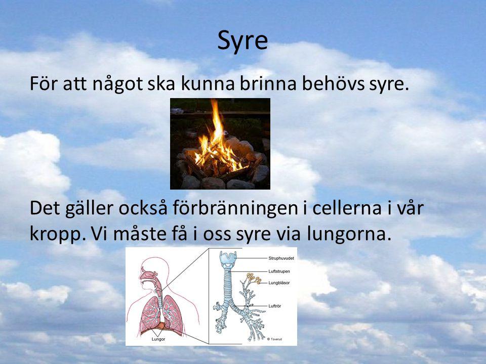 Syre För att något ska kunna brinna behövs syre.