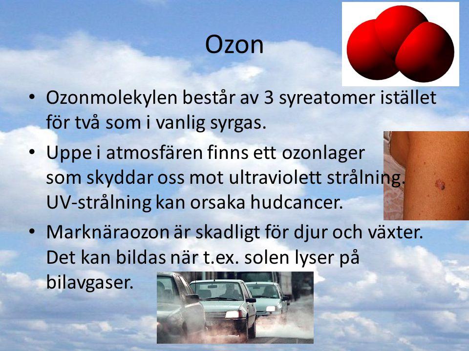 Ozon Ozonmolekylen består av 3 syreatomer istället för två som i vanlig syrgas.