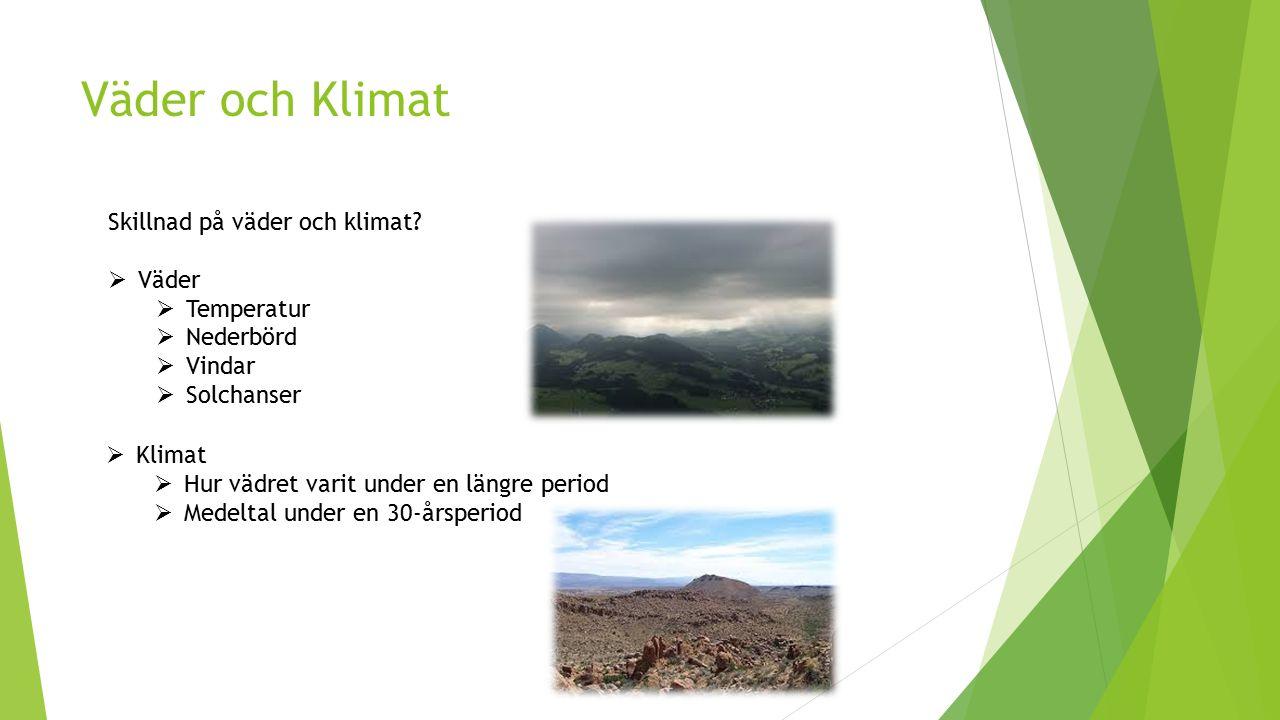 Väder och Klimat Skillnad på väder och klimat Väder Temperatur