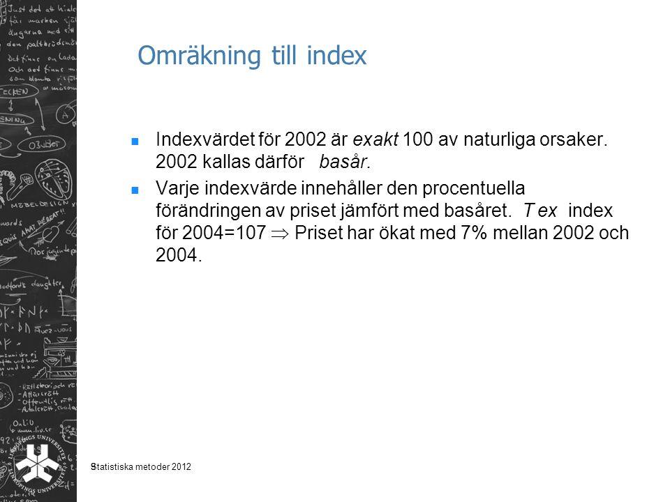 Omräkning till index Indexvärdet för 2002 är exakt 100 av naturliga orsaker. 2002 kallas därför basår.