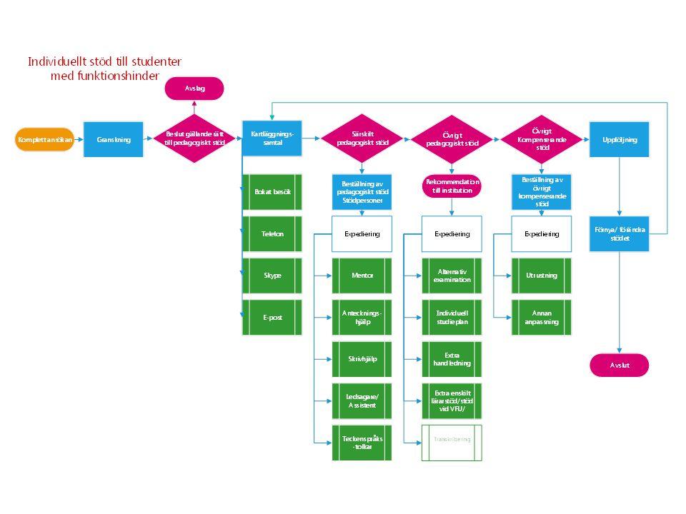 Bilden illustrerar processen, med utgångspunkt från handläggningsordningen för individuellt stöd till studenter med funktionshinder.