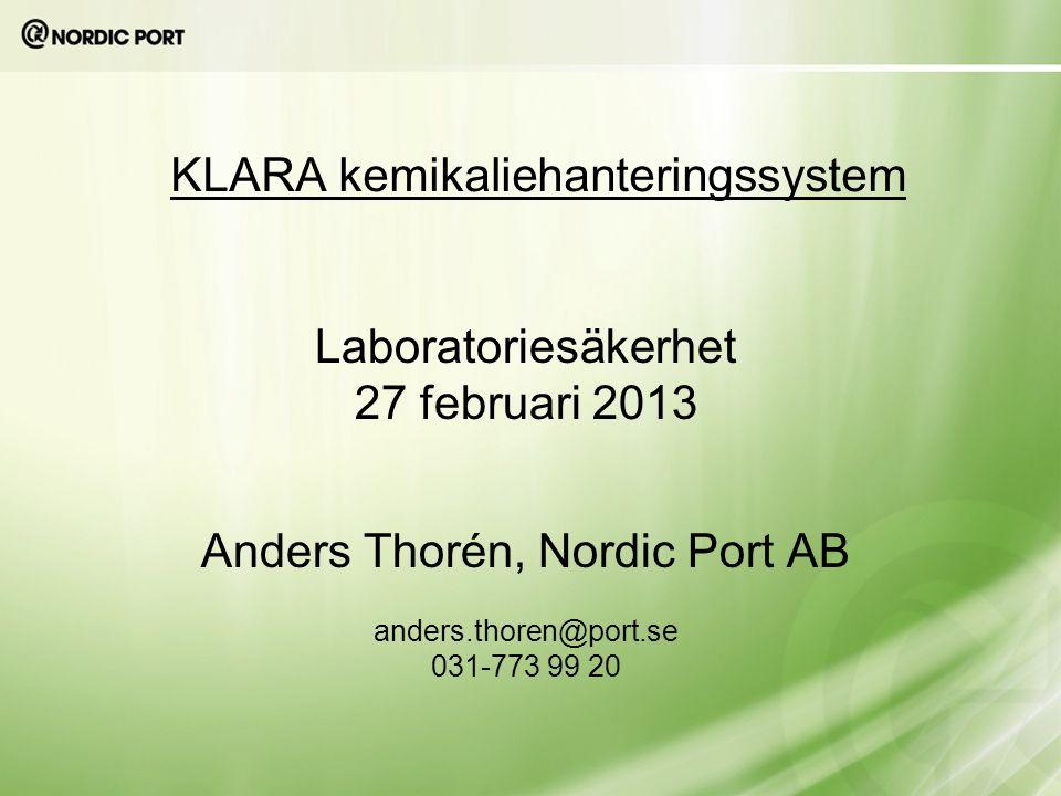KLARA kemikaliehanteringssystem