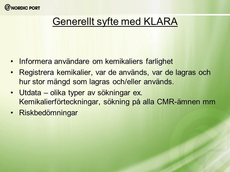 Generellt syfte med KLARA