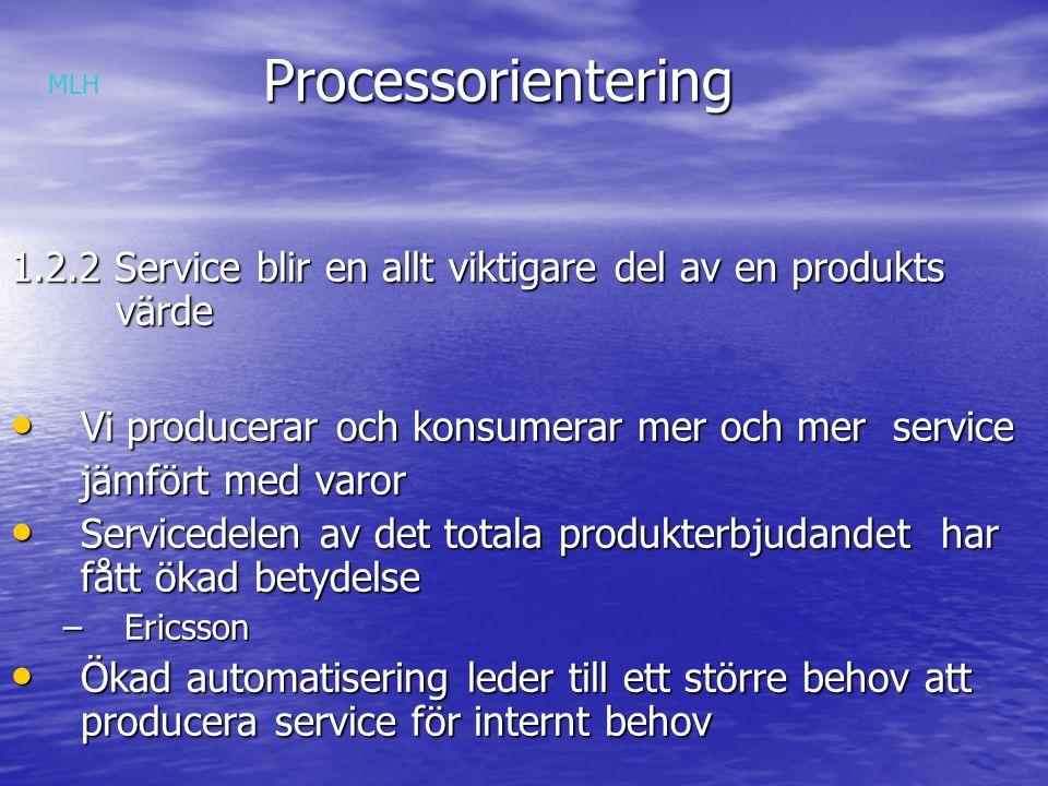 Processorientering MLH. 1.2.2 Service blir en allt viktigare del av en produkts värde. Vi producerar och konsumerar mer och mer service.