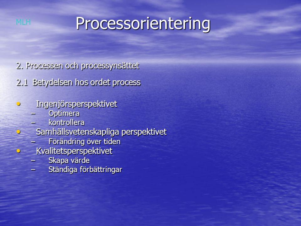 Processorientering 2. Processen och processynsättet