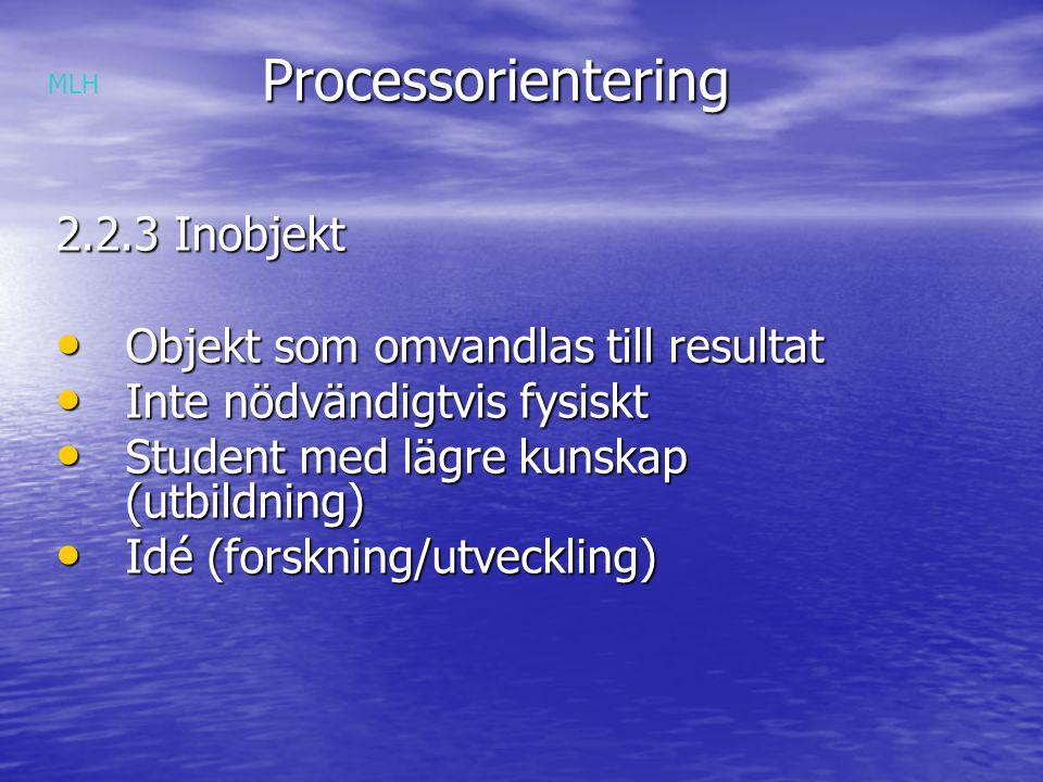 Processorientering 2.2.3 Inobjekt Objekt som omvandlas till resultat