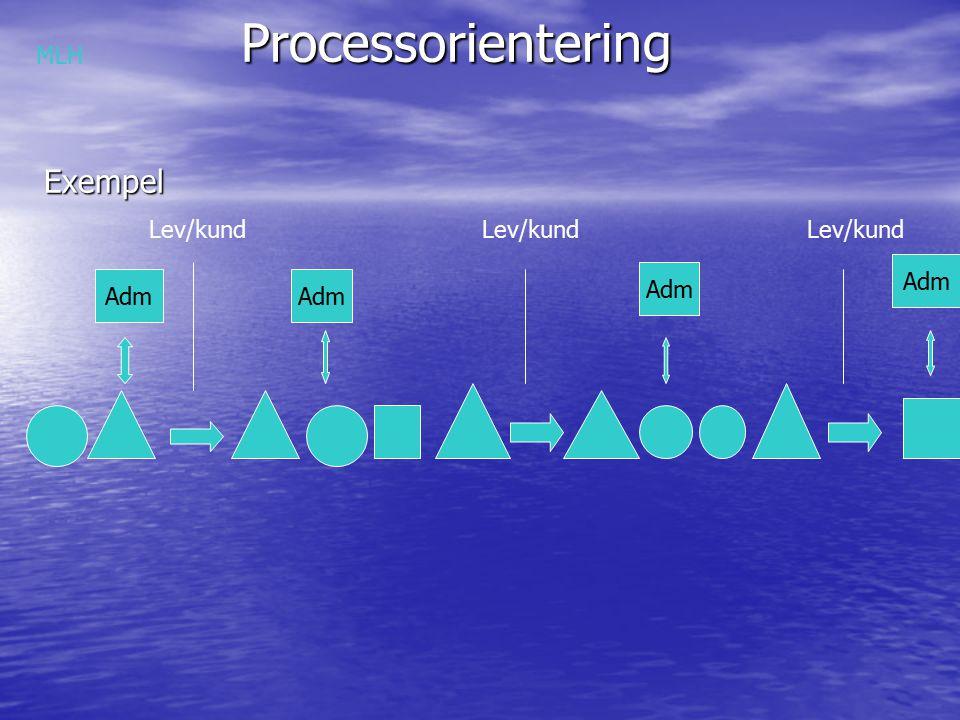 Processorientering Exempel MLH Lev/kund Lev/kund Lev/kund Adm Adm Adm