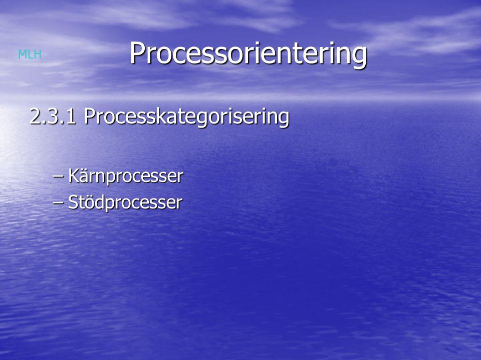 Processorientering 2.3.1 Processkategorisering Kärnprocesser