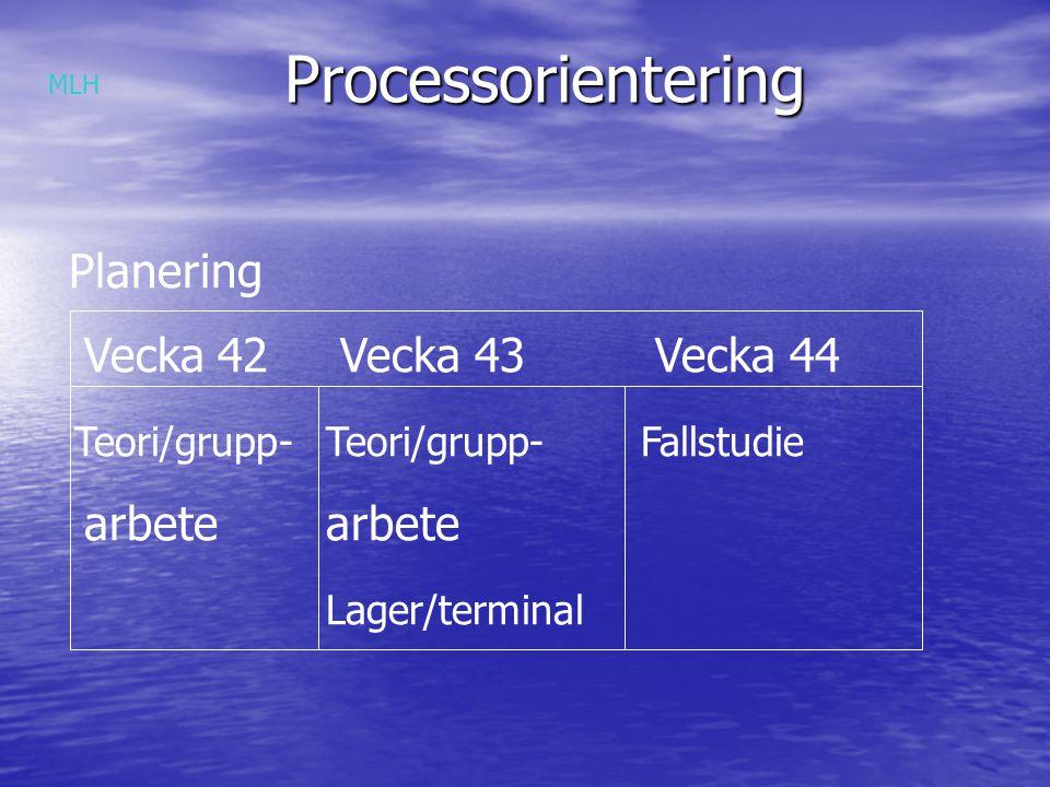 Processorientering Planering Vecka 42 Vecka 43 Vecka 44 arbete arbete