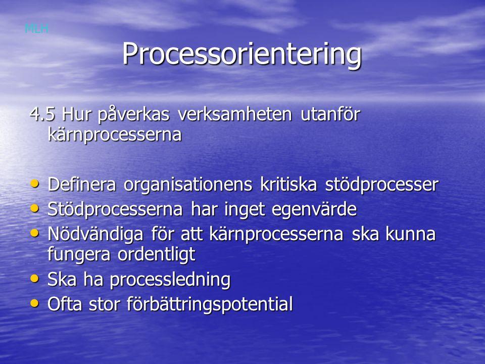 MLH Processorientering. 4.5 Hur påverkas verksamheten utanför kärnprocesserna. Definera organisationens kritiska stödprocesser.