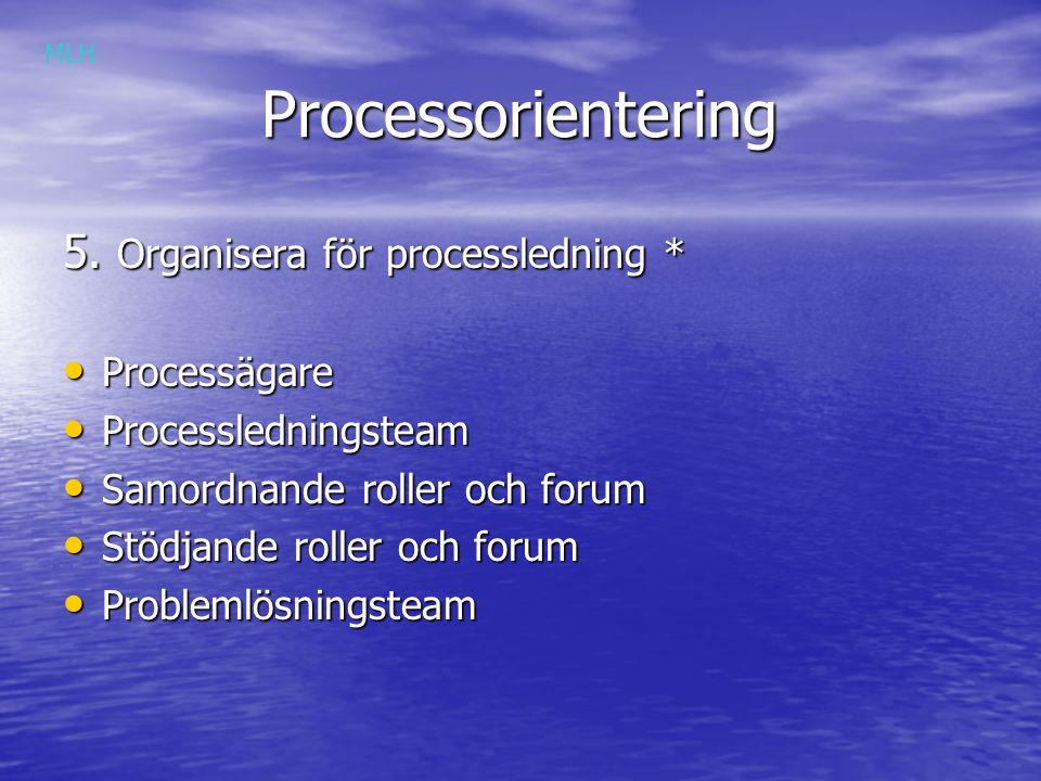 Processorientering 5. Organisera för processledning * Processägare