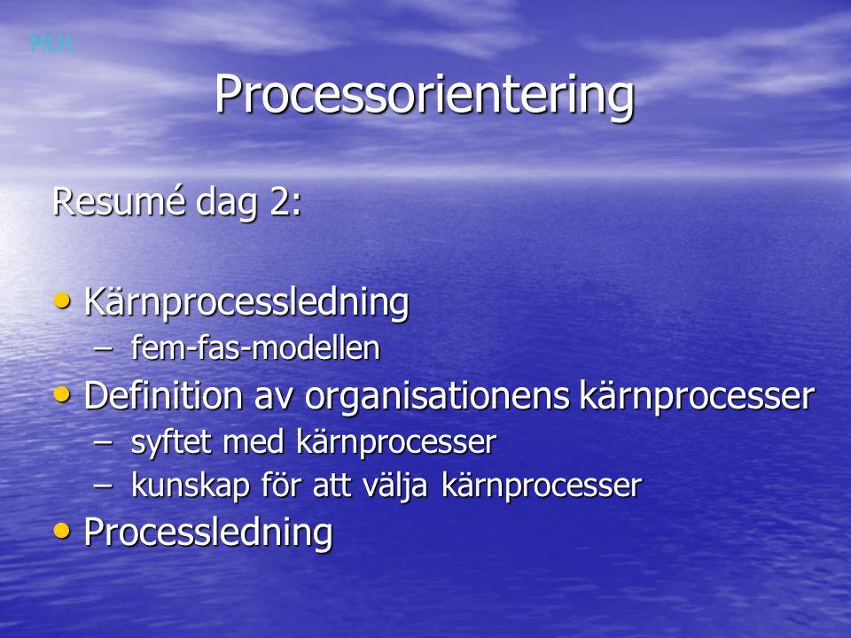 Processorientering Resumé dag 2: Kärnprocessledning