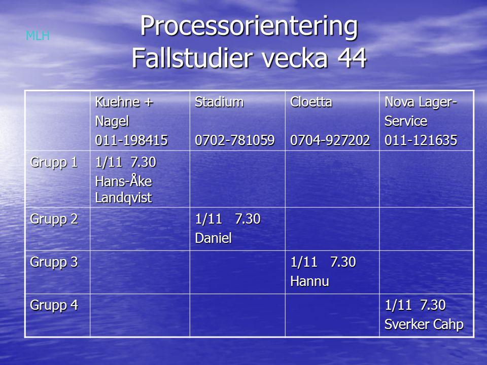 Processorientering Fallstudier vecka 44
