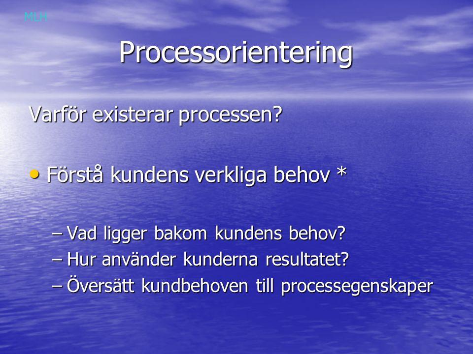 Processorientering Varför existerar processen