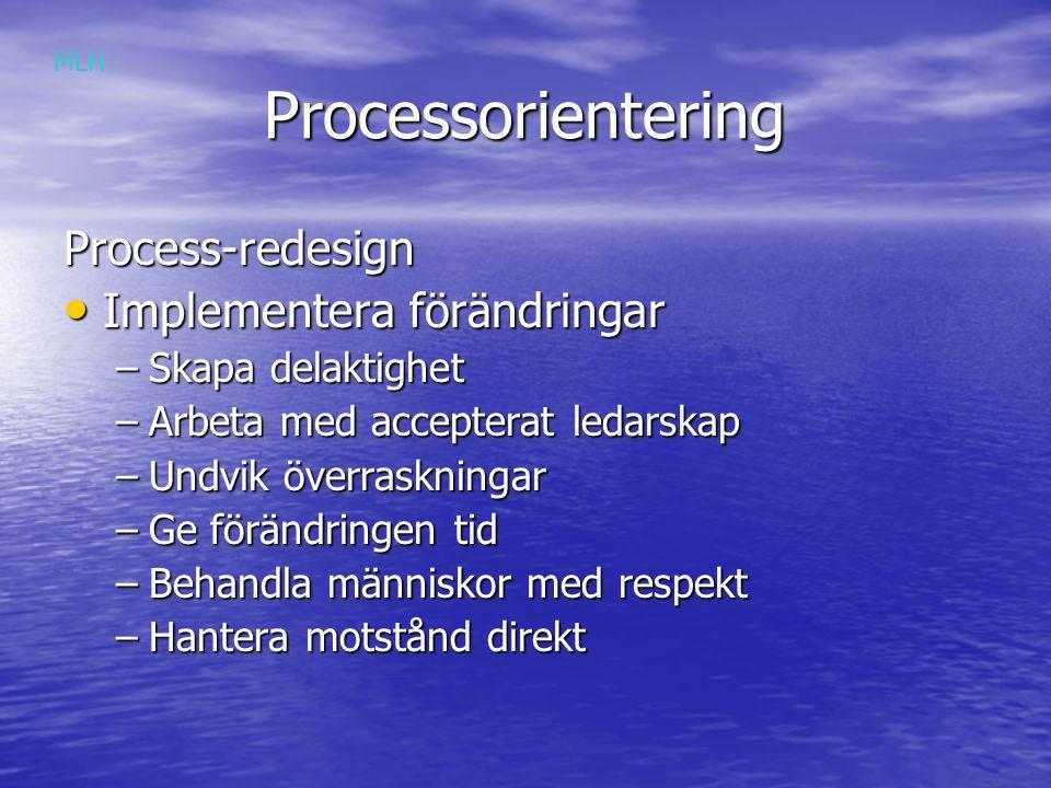 Processorientering Process-redesign Implementera förändringar