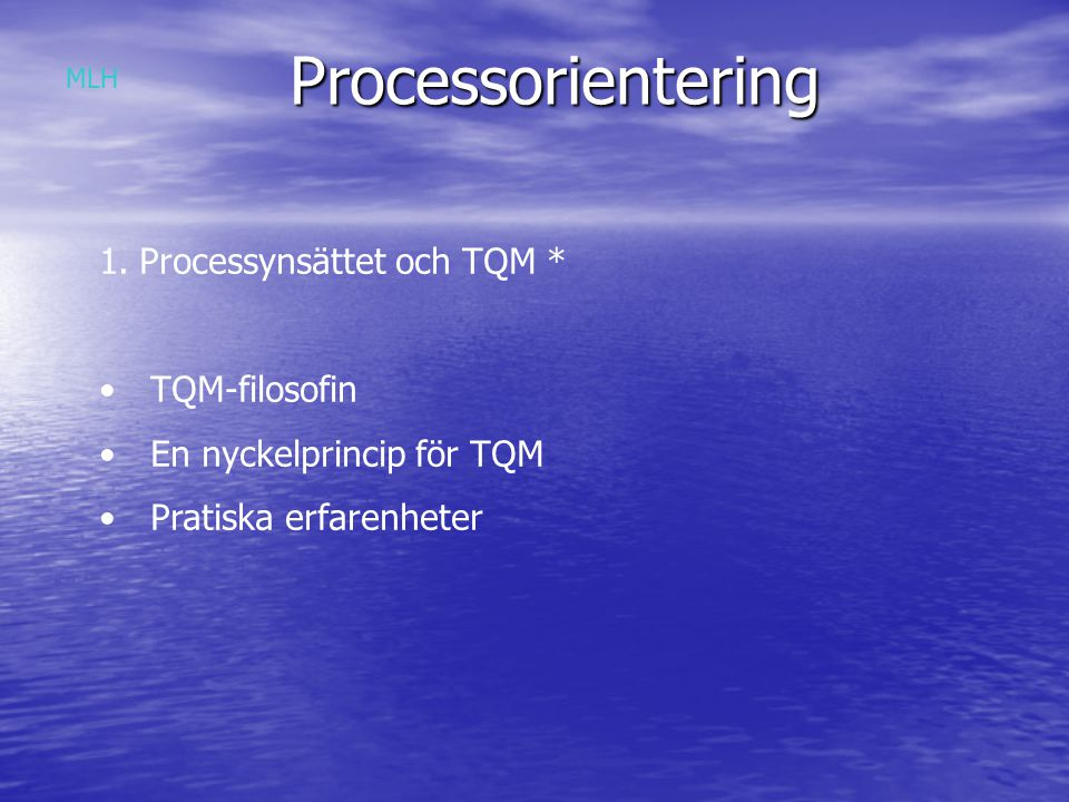 Processorientering Processynsättet och TQM * TQM-filosofin