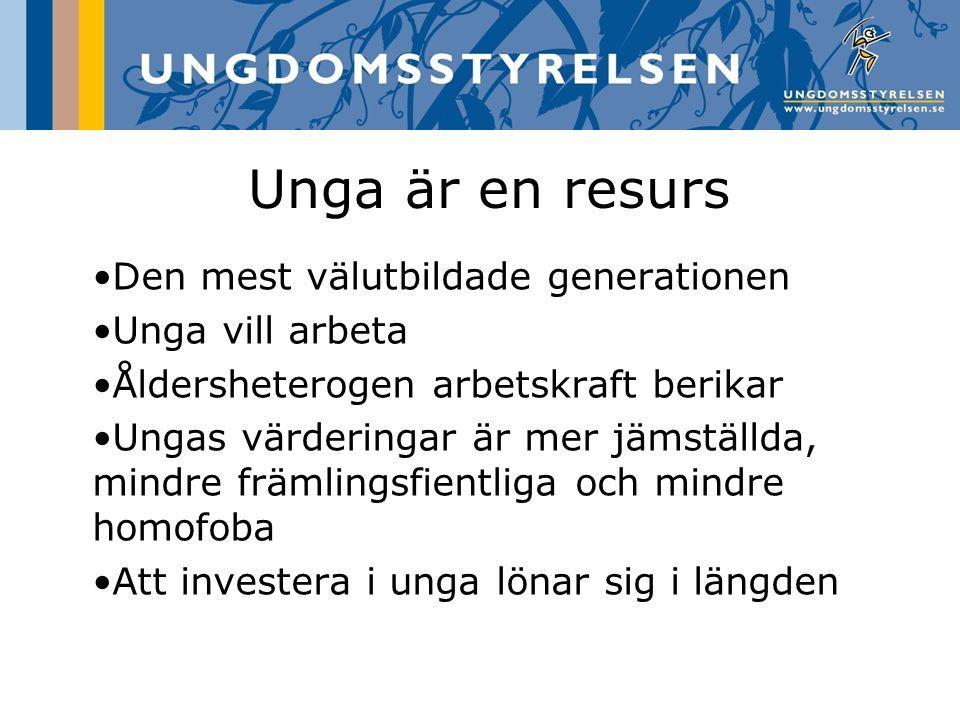 Unga är en resurs Den mest välutbildade generationen Unga vill arbeta