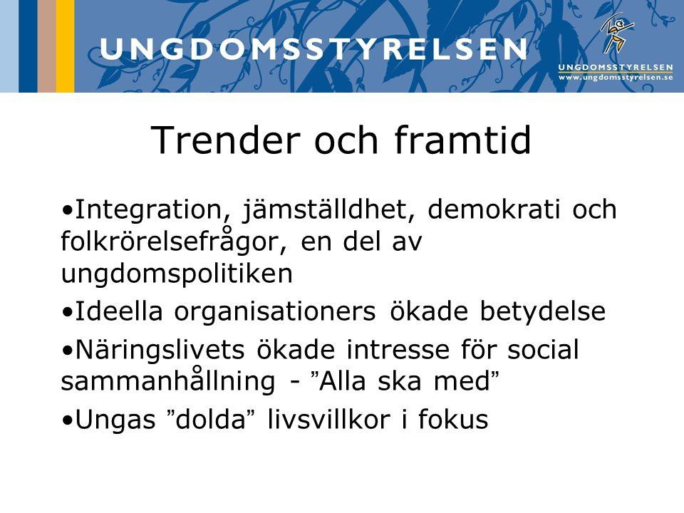 Trender och framtid Integration, jämställdhet, demokrati och folkrörelsefrågor, en del av ungdomspolitiken.