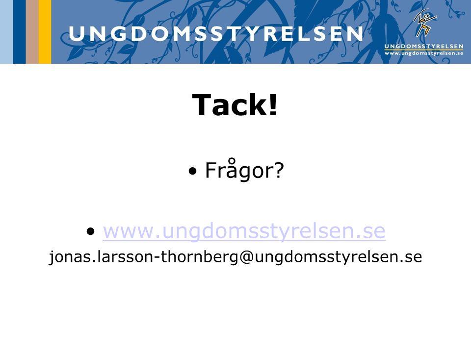 Tack! Frågor www.ungdomsstyrelsen.se