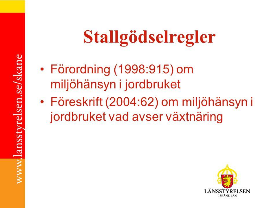 Stallgödselregler Förordning (1998:915) om miljöhänsyn i jordbruket