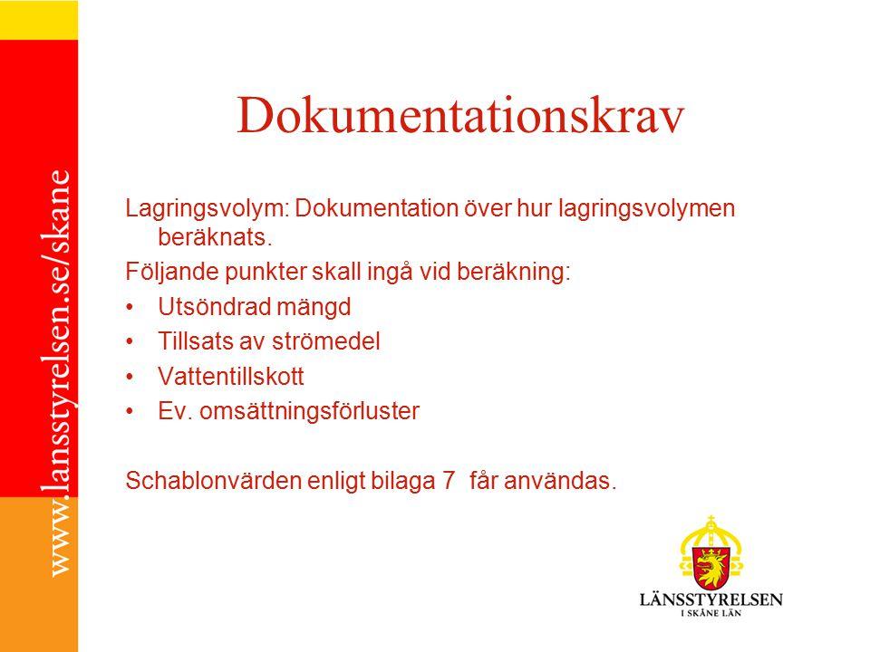 Dokumentationskrav Lagringsvolym: Dokumentation över hur lagringsvolymen beräknats. Följande punkter skall ingå vid beräkning:
