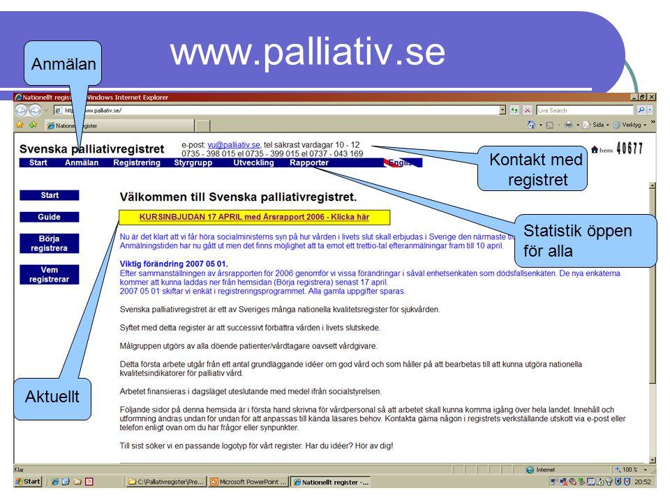 www.palliativ.se Anmälan Kontakt med registret Statistik öppen