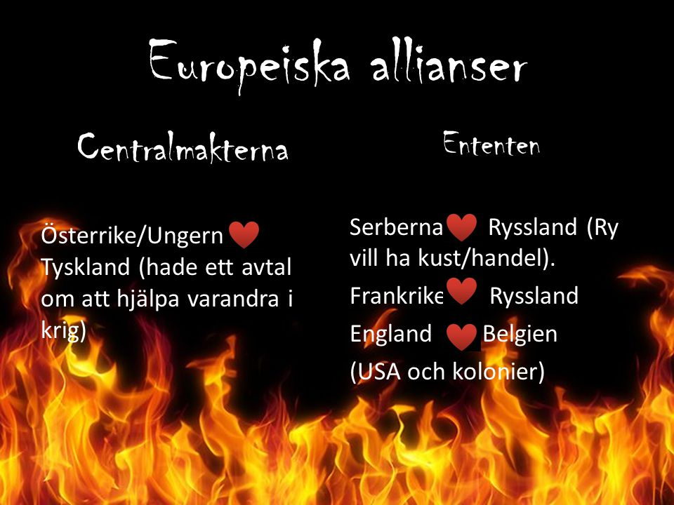 Europeiska allianser Centralmakterna Ententen