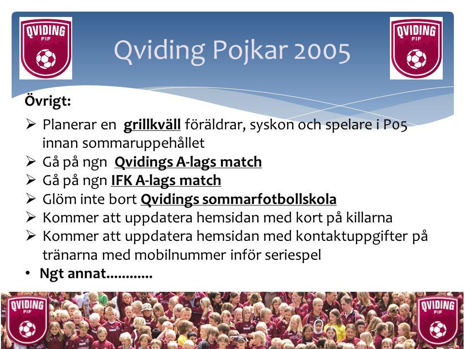 Qviding Pojkar 2005 Övrigt: