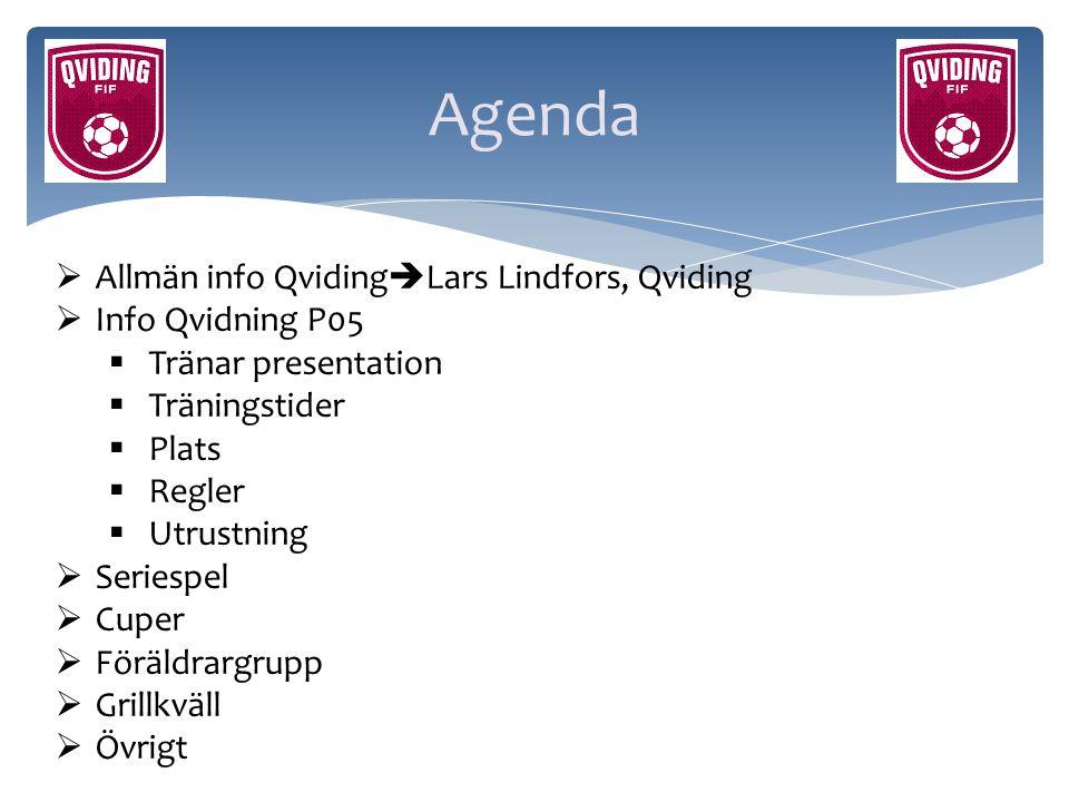 Agenda Allmän info QvidingLars Lindfors, Qviding Info Qvidning P05