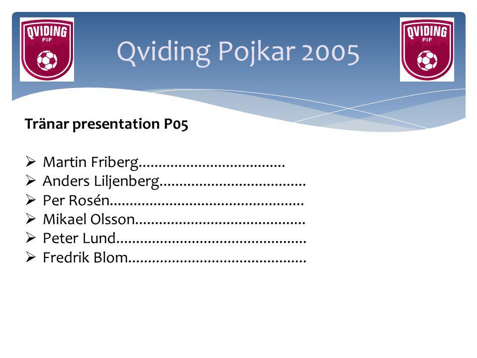 Qviding Pojkar 2005 Tränar presentation P05