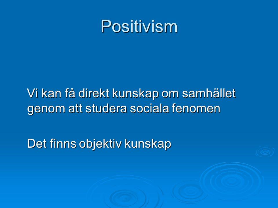 Positivism Vi kan få direkt kunskap om samhället genom att studera sociala fenomen.