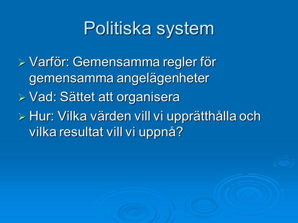 Politiska system Varför: Gemensamma regler för gemensamma angelägenheter. Vad: Sättet att organisera.