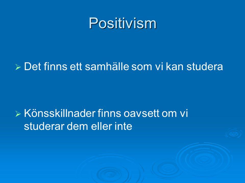 Positivism Det finns ett samhälle som vi kan studera