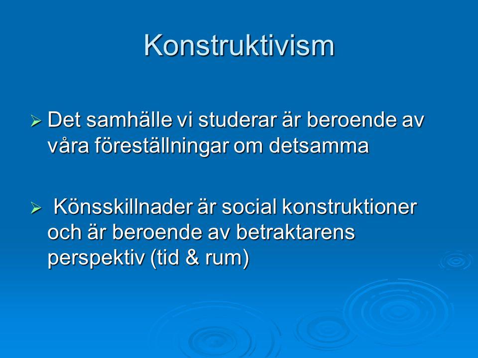 Konstruktivism Det samhälle vi studerar är beroende av våra föreställningar om detsamma.