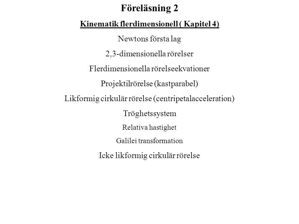 Kinematik flerdimensionell ( Kapitel 4)