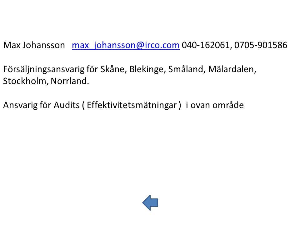 Max Johansson max_johansson@irco.com 040-162061, 0705-901586