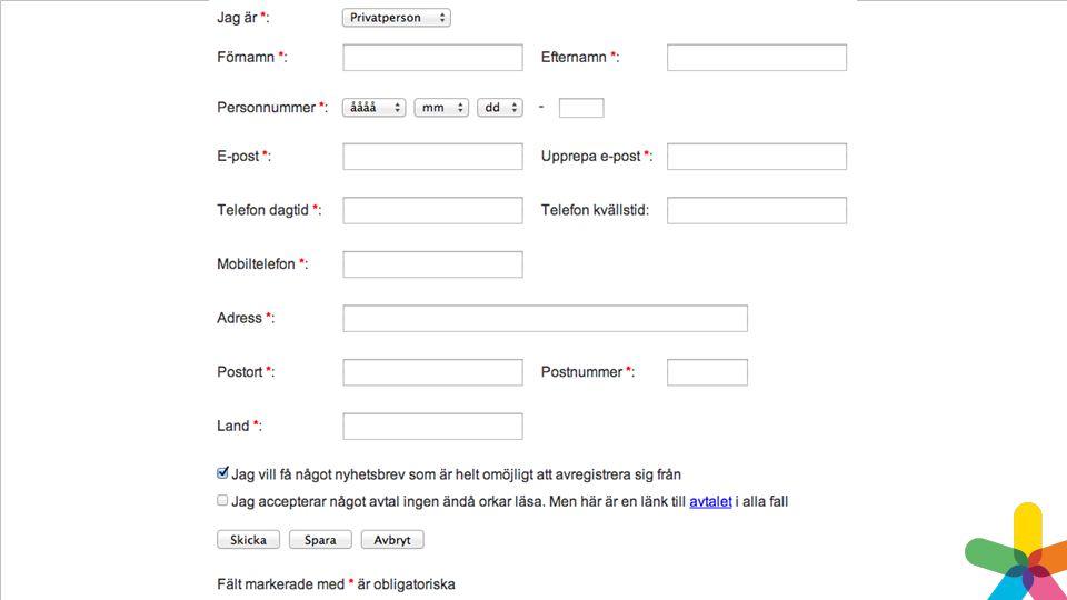 Exempel på hur ett formulär kan se ut